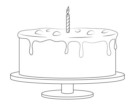 Dibujo De Pastel De Cumpleaños Con Una Vela Para Colorear