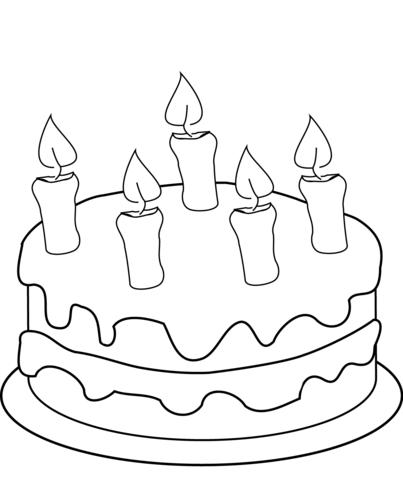 Dibujo De Tarta De Cumpleaños Con Cinco Velas Para Colorear