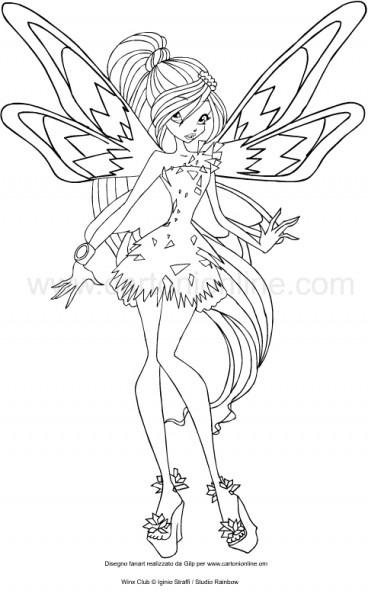 √ Dibujo De Flora Tynix Winx Club Para Colorear
