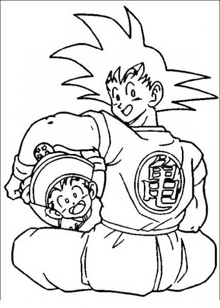 Goku Con Gohan Para Colorear
