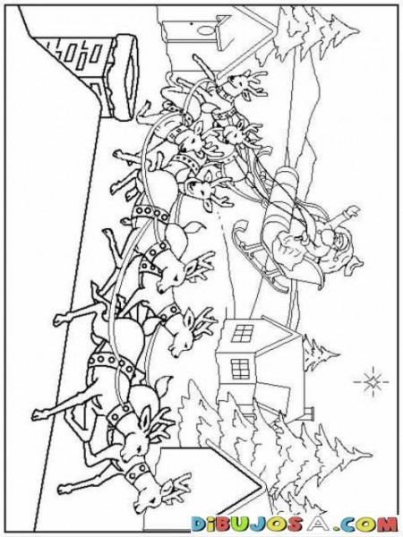 Dibujo De Santa Claus En Su Trineo Para Colorear