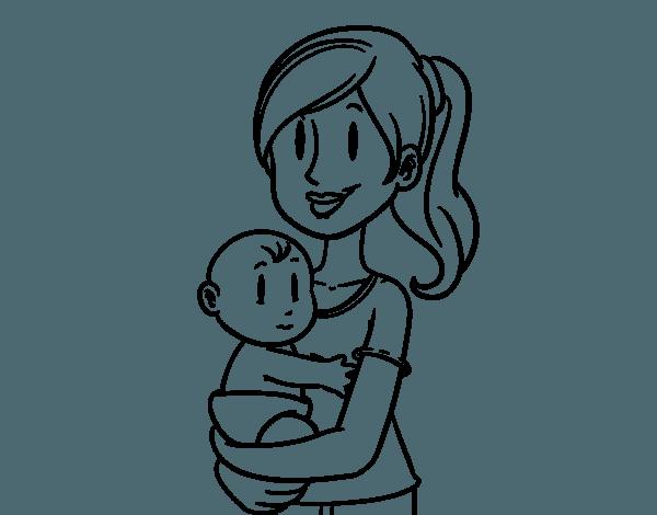 Dibujo De En Brazos De Mamá Para Colorear