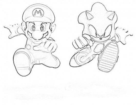 Dibujos Para Colorear De Mario Bros Y Sonic