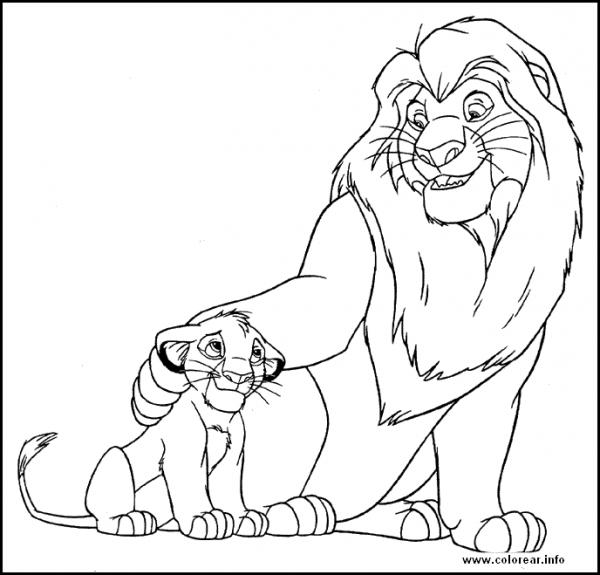 Colorea Al Rey León Y Simba, Personajes De Disney Channel