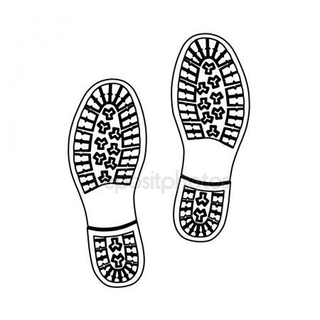 Negro Delineado Zapato Zapatilla Y Soles — Vector De Stock