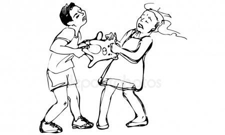 Vectores De Stock De Niños Peleando, Ilustraciones De Niños