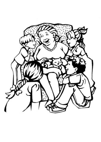 Dibujo Para Colorear Abuela