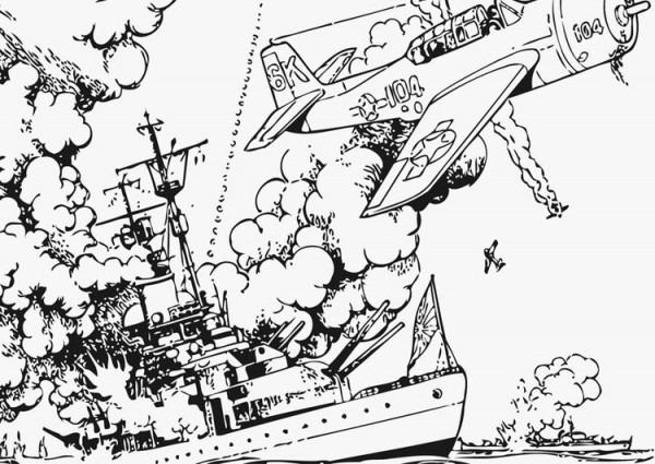 Dibujo Para Colorear Guerra En El Mar