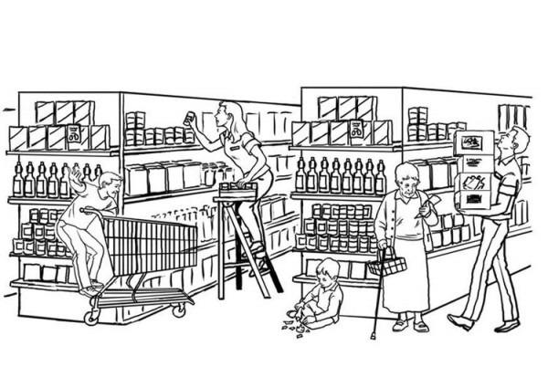 Dibujo Para Colorear Supermercado