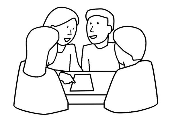 Dibujo Para Colorear Trabajo En Grupo