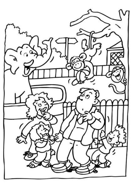 Dibujo Para Colorear Visita Al Zoológico