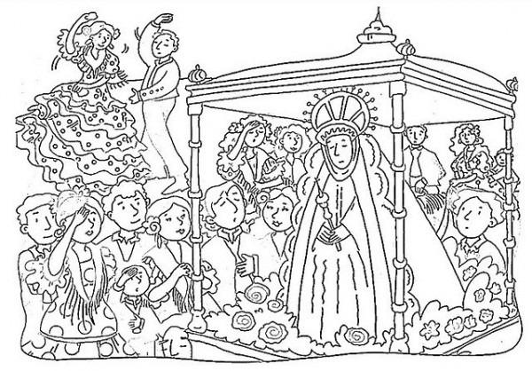 Virgen Del Rocio Para Colorear