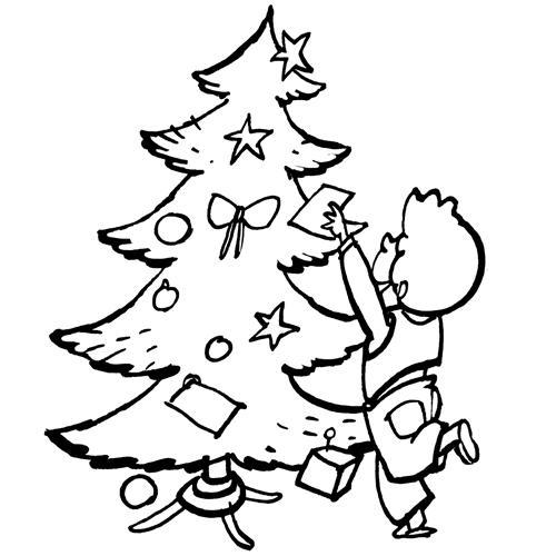 Dibujos Para Colorear  Niño Con Su árbol De Navidad