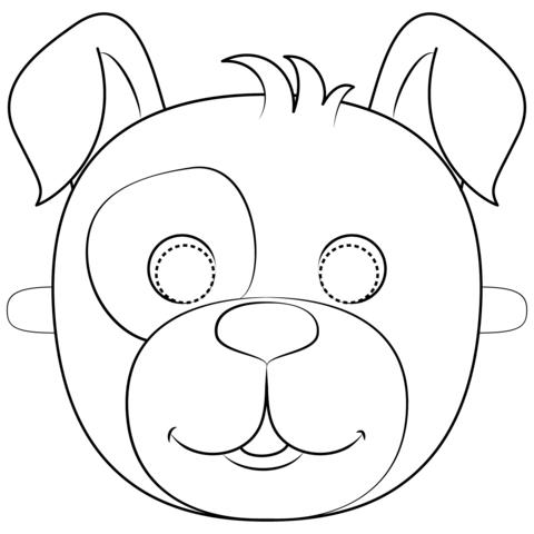 Dibujo De Máscara De Perro Para Colorear