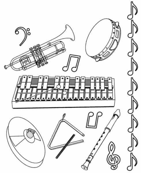 Instrumentos Musicales  13 (objetos) – Páginas Para Colorear