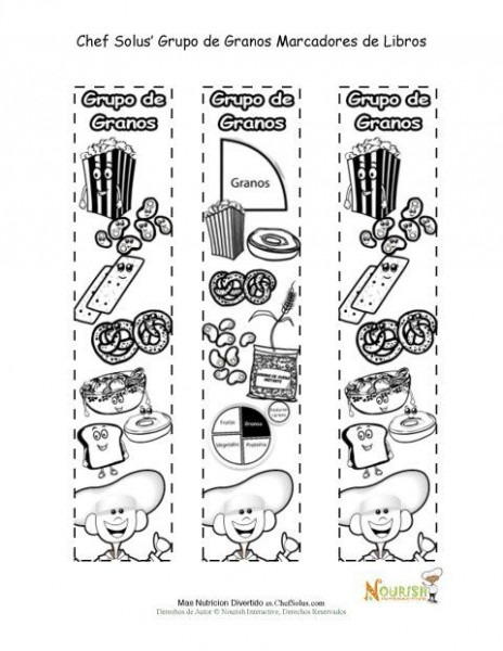 Actividad Para Colorear Marcadores De Libros Del Grupo Alimenticio