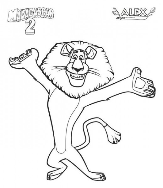 Madagascar Coloring Pages Alex