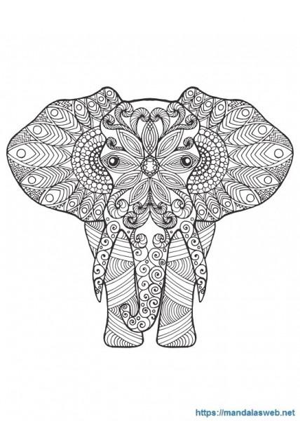 ▷ 39 Mandalas Y Dibujos De Elefantes Para Colorear 🥇