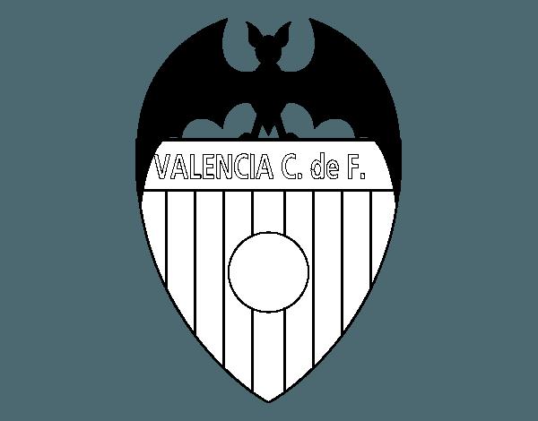 Dibujo De Escudo Del Valencia C  F  Para Colorear
