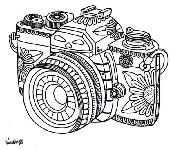 Dia De Los Camera Coloring Page