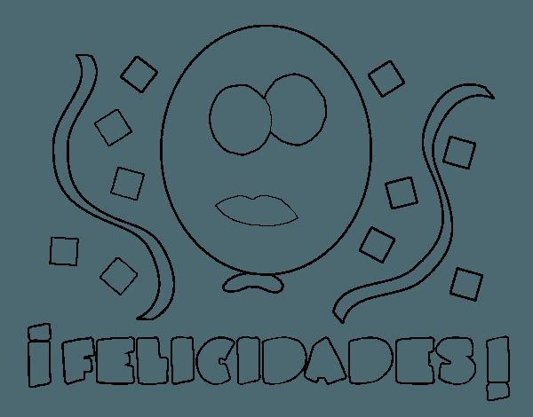 Dibujo De Felicidades Para Colorear
