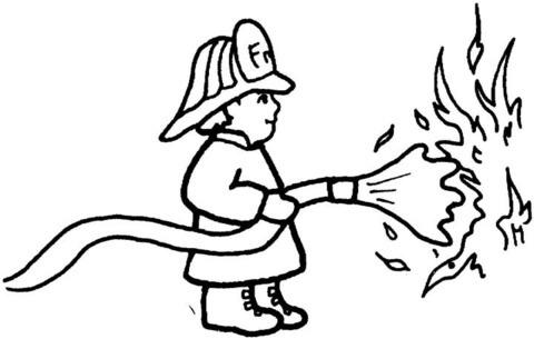 Dibujo De Un Bombero Apaga El Incendio Para Colorear