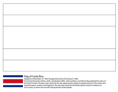 Dibujo De Bandera De Costa Rica Para Colorear