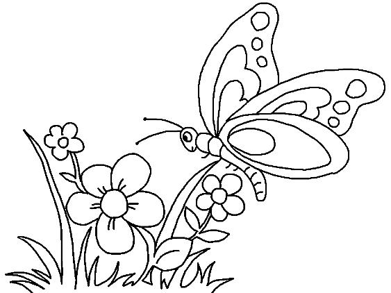 Flores Con Mariposas Para Colorear