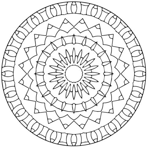 Dibujo De Mandala De Estrellas Para Colorear