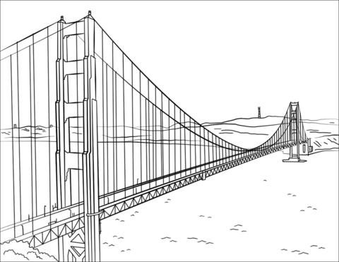 Dibujo De Puente Golden Gate Para Colorear