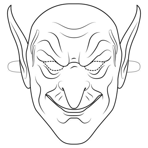 Dibujo De Máscara De Duende Verde Para Colorear