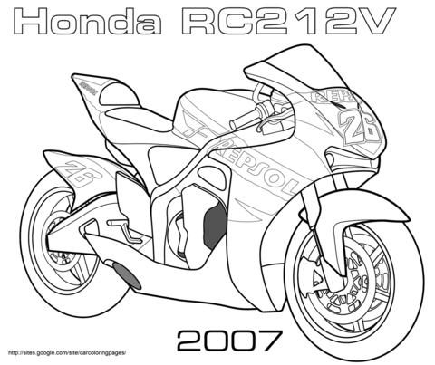 Dibujo De Moto De Carreras Honda Rc212v Para Colorear