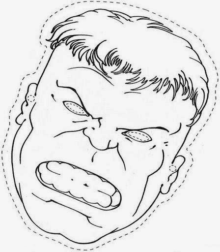 Mascara De Hulk Para Colorear E Imprimir
