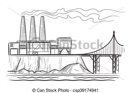 Industrial, Fábrica, Paisaje  Grabado, Puente, Industrial, Fábrica