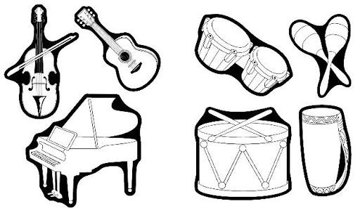 Maestra De Infantil  Dibujos Para Colorear  Instrumentos Musicales