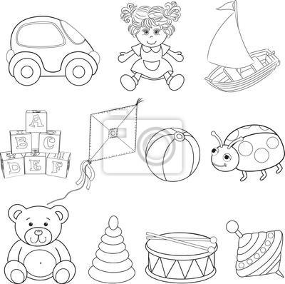 Juguetes Del Bebé Fijados  Libro Para Colorear Vinilos Para