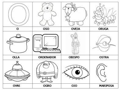 Laminas Con Dibujos Para Aprender Palabras Y Colorear Con Letra  O