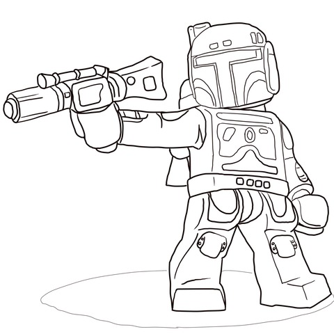 Dibujo De Boba Fett De Star Wars Lego Para Colorear
