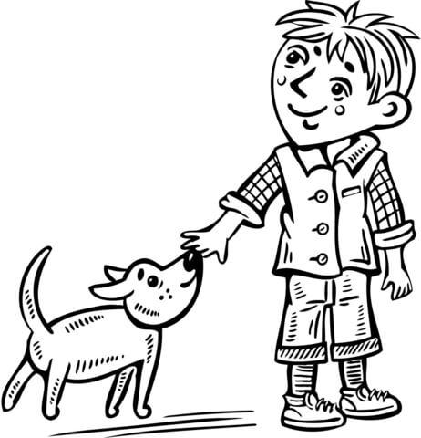 Dibujo De Niño Pequeño Paseando A Su Perro Para Colorear