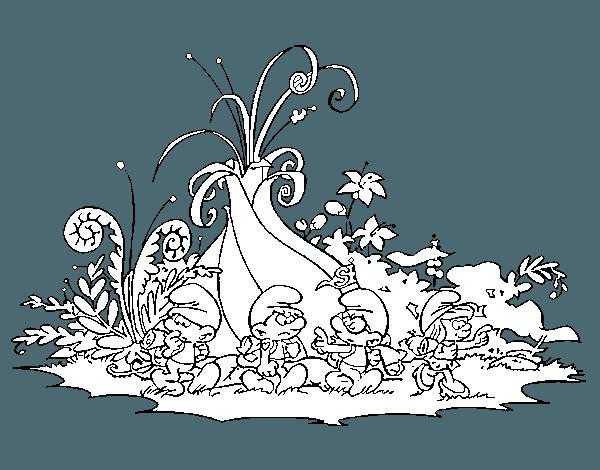 Dibujo De Los Pitufos  La Aldea Escondida Para Colorear