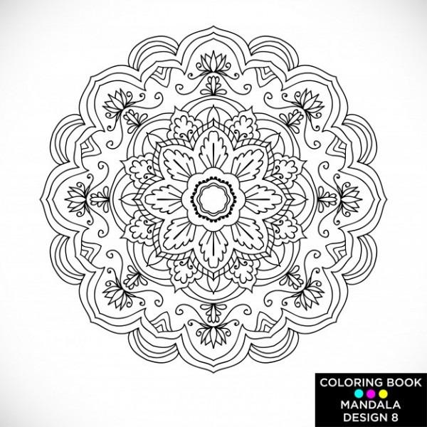 Mandala Floral Blanco Y Negro Para Libro De Colorear