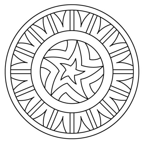 Dibujo De Mandala Con Patrón De Estrella Para Colorear