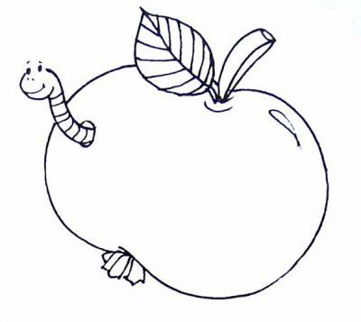 Dibujo De Manzana Con Un Gusano  Dibujo Para Colorear De Manzana