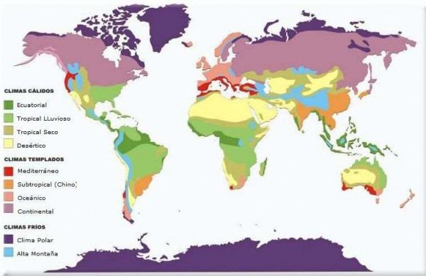 Climas Del Mundo Mapa Distribución Zonas Climáticas Frio Calido