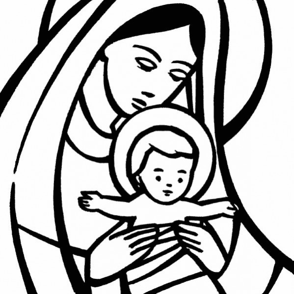 Compartiendo Por Amor  Dibujos Virgen María Y El Niño Jesús