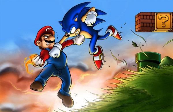 Dibujos Para Colorear De Mario Vs Sonic