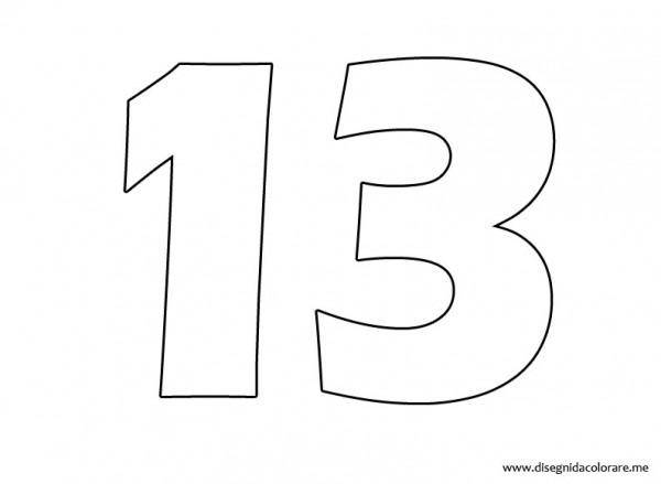 Dibujos Del Número 13 Para Imprimir Y Pintar