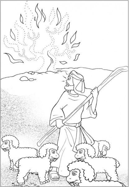 √ Moises Y La Zarza Para Colorear ~ Dibujos Cristianos Para