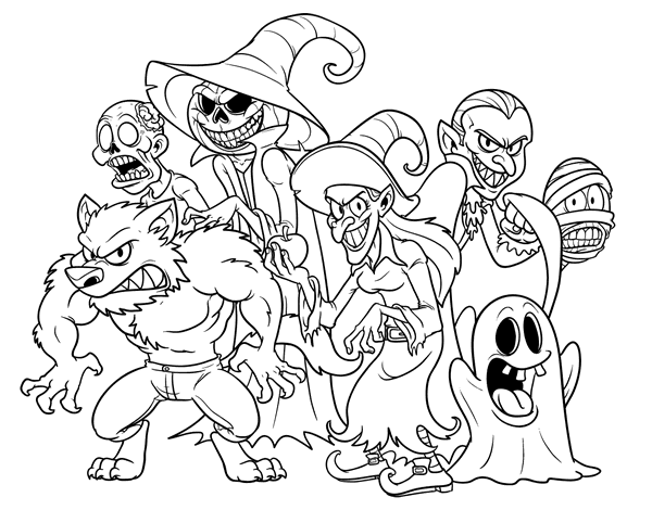 Dibujo De Monstruos De Halloween Para Colorear