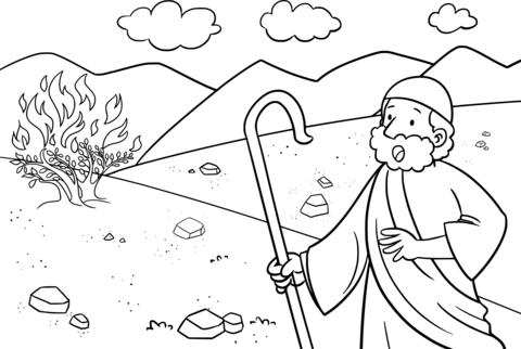 Dibujo De Moisés Y El Arbusto En Llamas Para Colorear